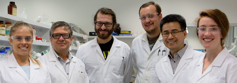 German chemist Tobias Scholl, third from left, in the lab with UTS scientists.
