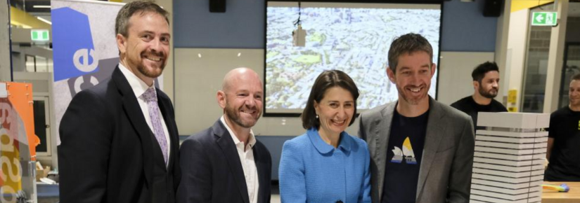 From left, Prof Attila Brungs, Minister Niall Blair, Premier Gladys Berejiklian and Atlassian's Scott Farquhar.