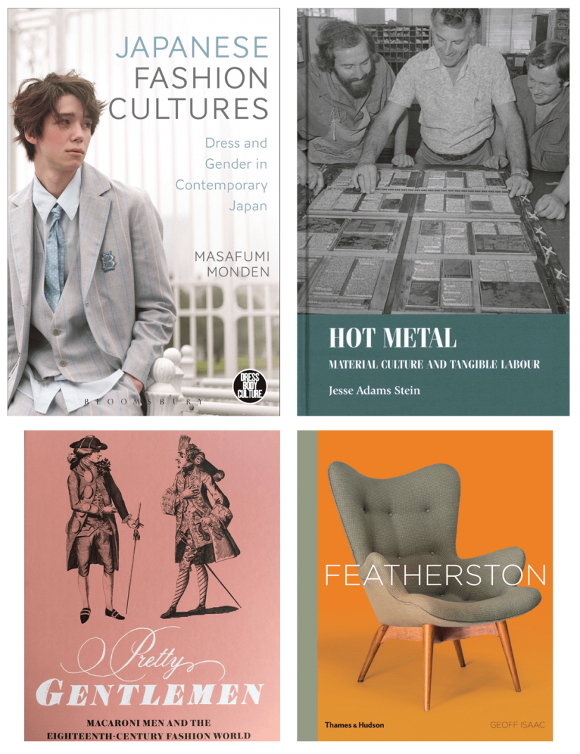 Book cover collage - Fashion and industrial design book covers including Japanese fashion cultures, Pretty gentlemen, Featherstone and Hot Metal