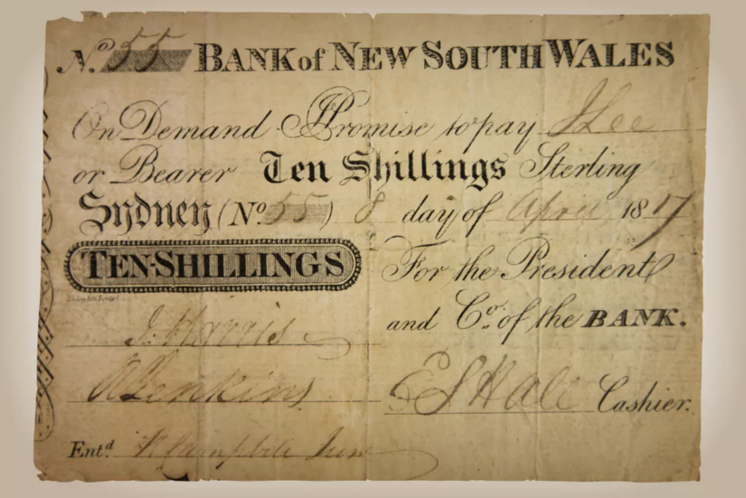 Original bank note on old paper with varying fonts for ten shillings