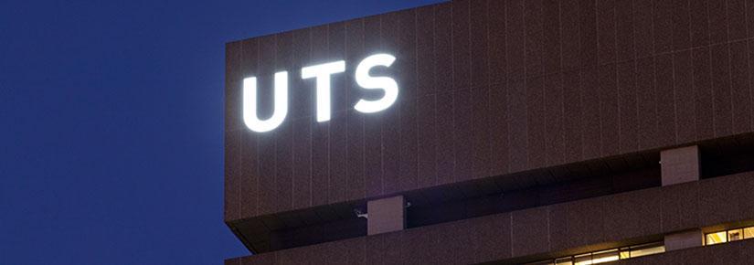 UTS tower illuminated by night