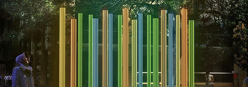 Light algae installation, coloured tubes of algae lined up in a row