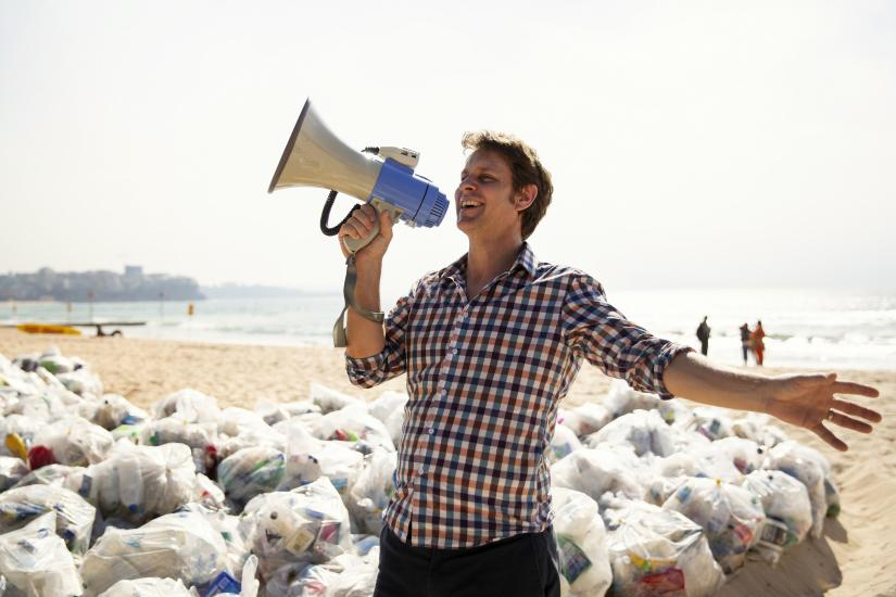 War on Waste host, Craig Reucassel, on Manly Beach