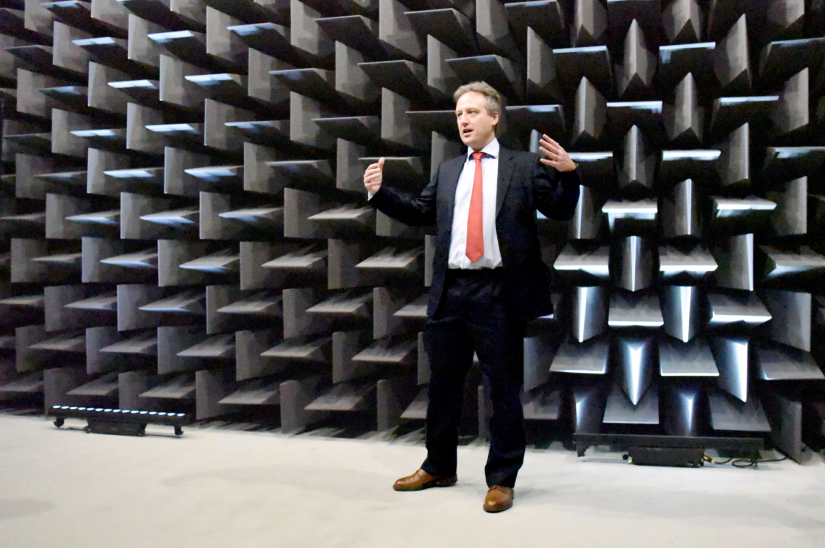UTS Tech Lab's Director, Associate Professor Ray Kirby, in an acoustic lab