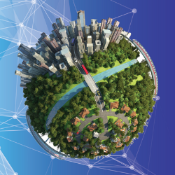 Sphere with image of trees and cities