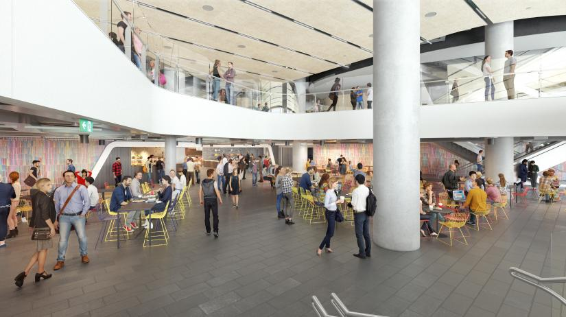 Artist's impression of the food court dining hall showing a double-height atrium filled with colourful chairs, wall-art and concrete beams.