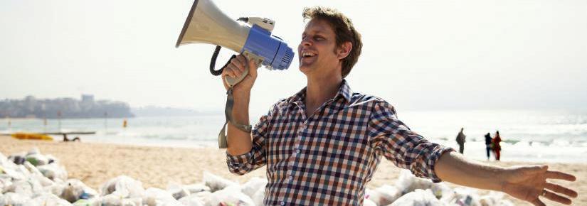War on Waste host, Craig Reucassel, on Manly Beach