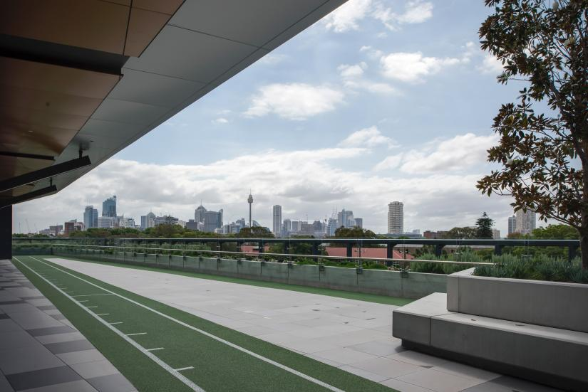 Rooftop of a building with a running track