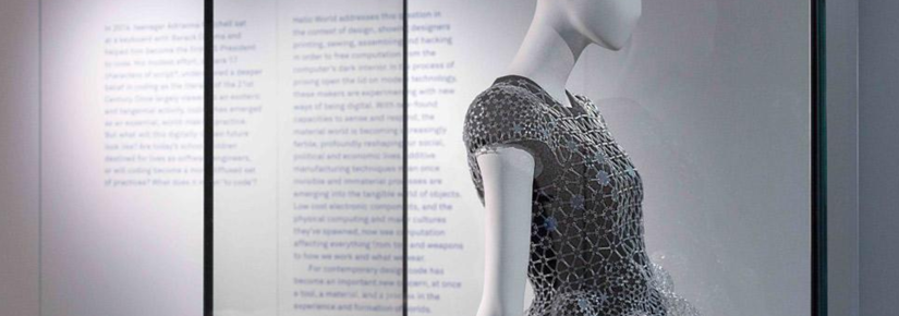 This dress constructed entirley from laser cut acrylic was one of 22 works on display in Hello World - an exhibition at UTS that showed the impact of code on the world. Photo by Jessica Maurer