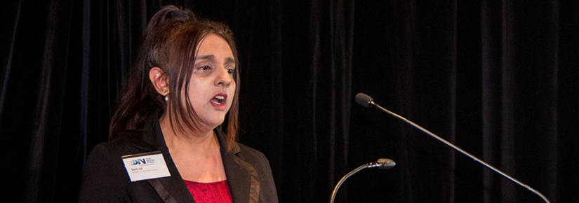 Associate Professor Sara Lal speaks at launch of the NSW Government-funded Defence Innovation Network (DIN).