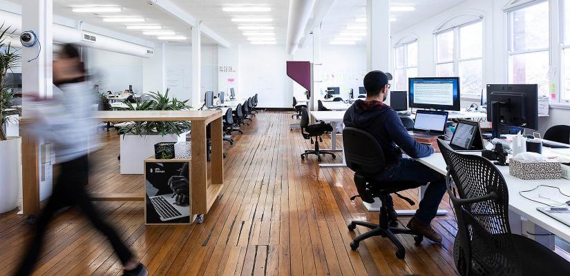 Startup entrepreneurs at work in Building 16