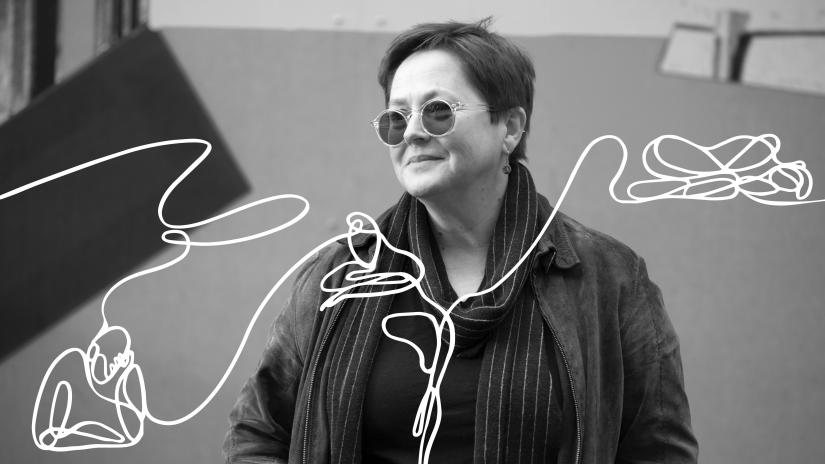 Black and white photo of law academic Jenni Millbank, overlaid with a line illustration that loosely represents people.