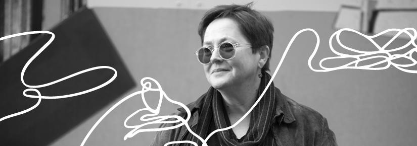 Black and white photo of law academic Jenni Millbank, overlaid with a line illustration that suggests human figures.