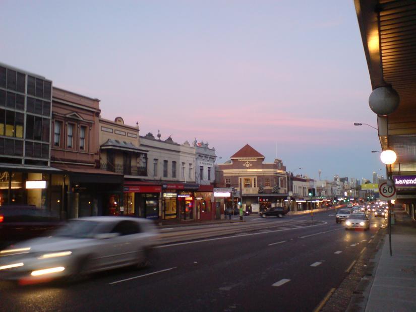 Parramatta Road at sunset