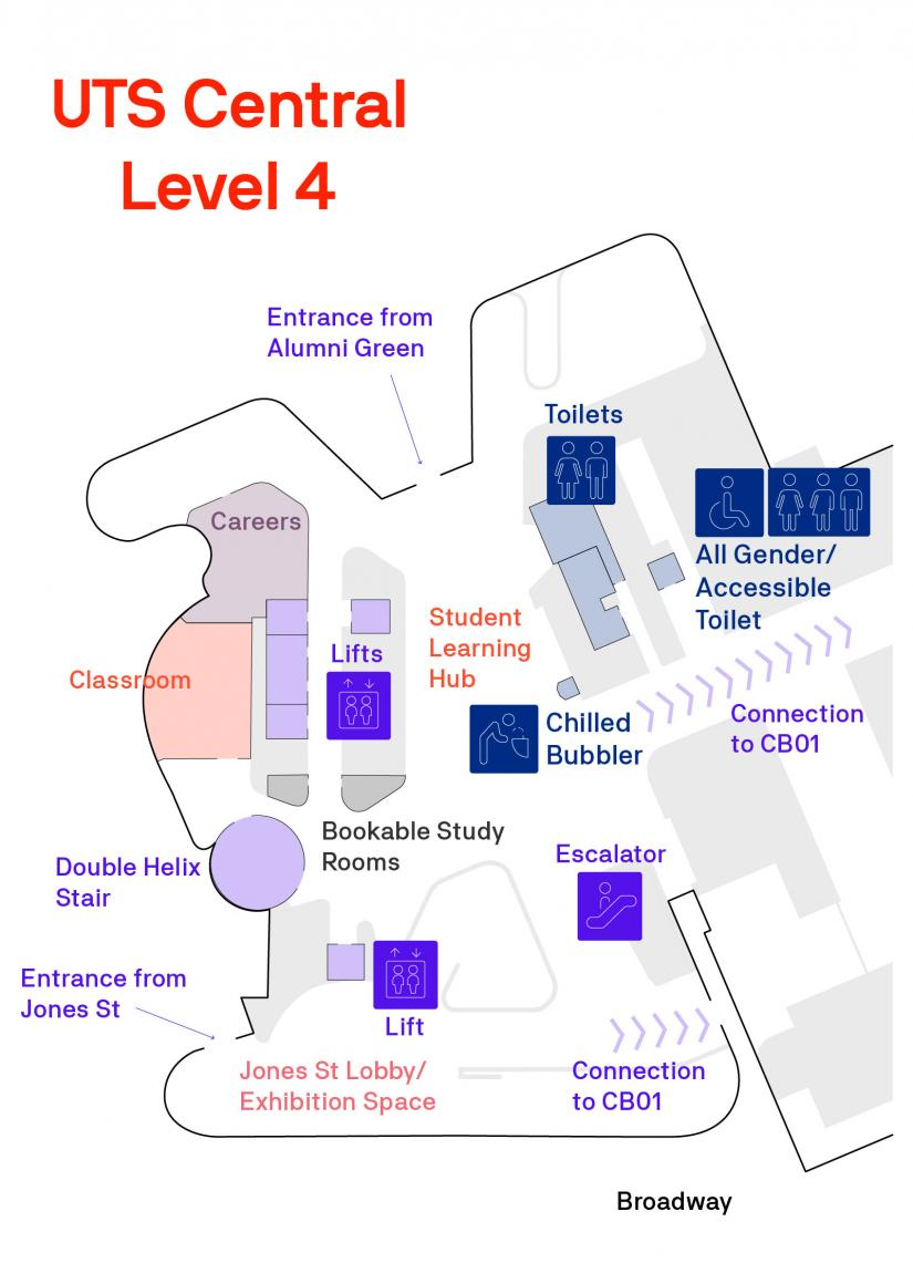 A floor plan showing UTS Central level 4