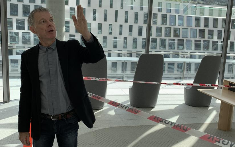 Richard Francis-Jones, design director of FJMT, gives a tour of the newly-constructed UTS Central.