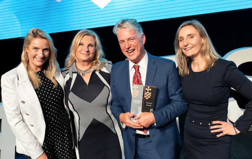 Martin Hill, recipient of the UTS Chancellor's Award for Excellence with his daughter Virginia Phillips, wife Lisa Hill and daughter Sarah Hill. Picture by Carmen Lee.