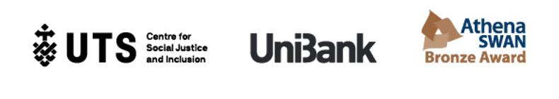 UTS logo, UniBank logo, Athena SWAN Bronze Award logo