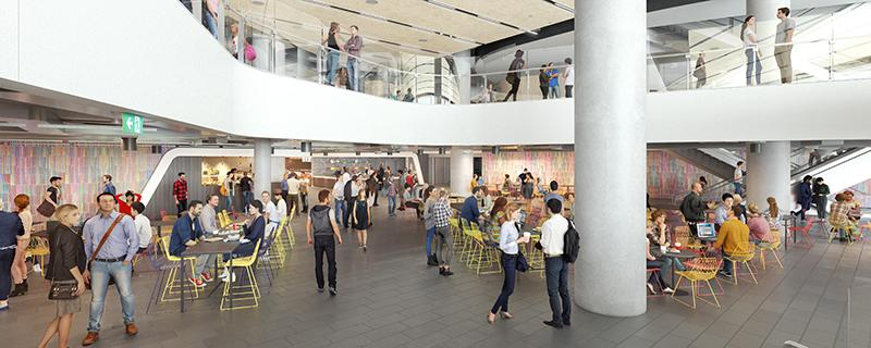 An artist's impression of the new UTS Central food court with colourful chairs, group tables and students walking through.