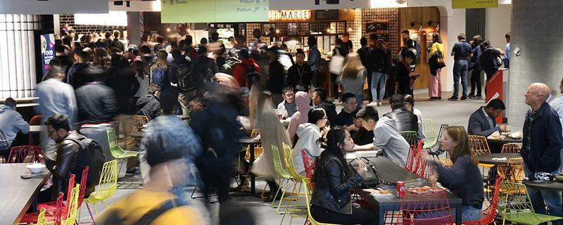 Crowds of students in the UTS Central food court