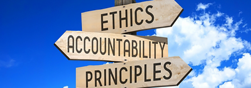 Signs pointing directions to ethics, accountability, principles and ethics