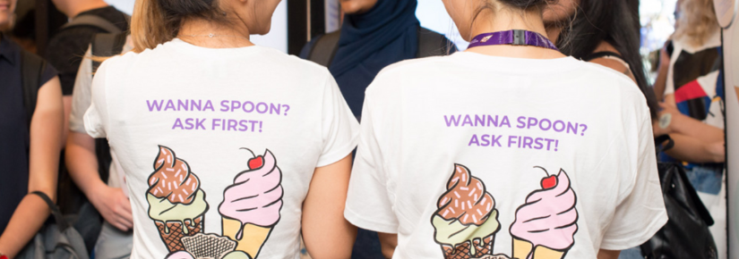 Students wearing Wanna Spoon? Ask First T-shirts