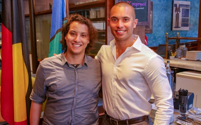 PhD students Giovanni D'Uso and Tui Nolan at NASA's Jet Propulsion Lab in California.