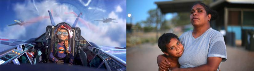 Left: a still of an animation of a female fighter pilot. Right: An Indigenous woman hugging a child