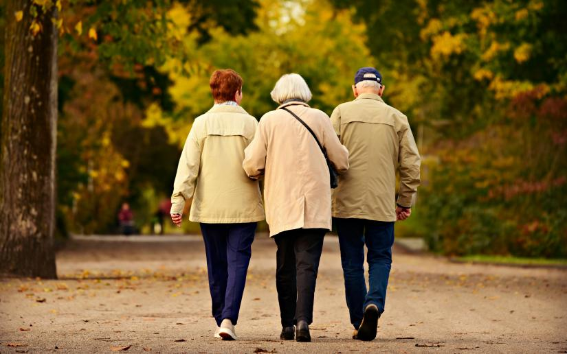 Three elderly people walk down a dirt path, their backs to the camera.