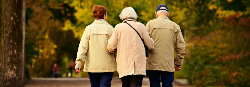 Three elderly people walking down a dirt path with linked arms facing away from the camera.
