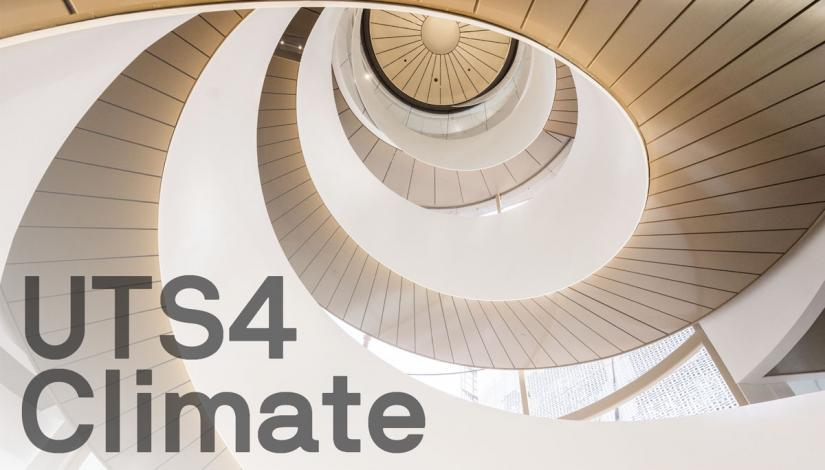 UTS4Climate text over image of helix staircase