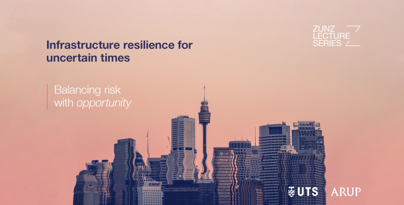 Zunz Lecture: Infrastructure resilience for uncertain times - Balancing risk with opportunity. On a wavy Sydney city skyline with a pink sky