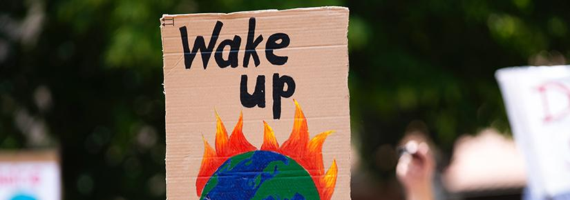 """Wake up"": Placard at a climate change demonstration"