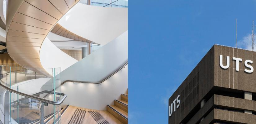 The light-filled double helix stair from inside UTS Central and a close-up of the UTS branding on the Tower with a clear blue sky background