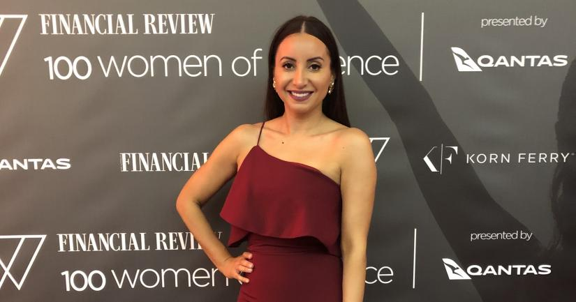 UTS alumnus Antoinette Lattouf on the red carpet at the Australian Financial Review's award ceremony.