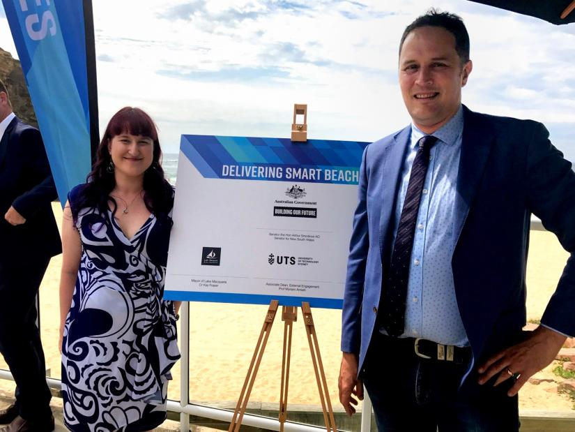 Claire Chaikin-Bryan and Northern Beaches Council CIO Nathan Rogers at the Smart Beaches Project Launch
