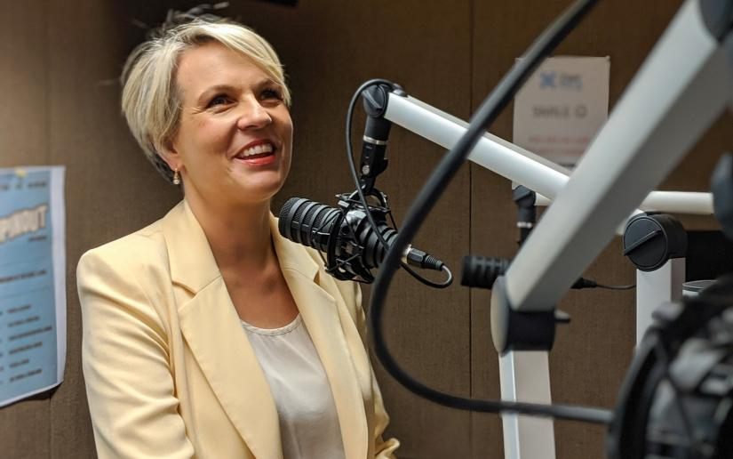 Federal Labor politician and former 2SER presenter, Tanya Plibersek, at the 40th birthday reunion broadcast.