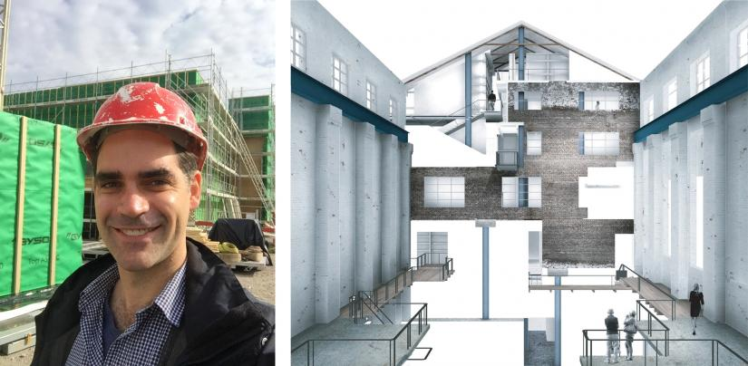 Left: Portrait of Thomas Trudeau on a construction site, Right: Drawing from UTS masters project