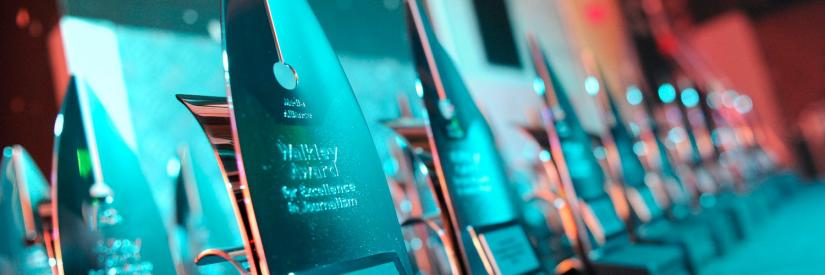 A row of Walkley Awards lined up