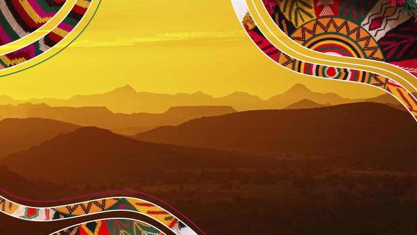 A sunset across a mountain range surrounded by coloured illustrations