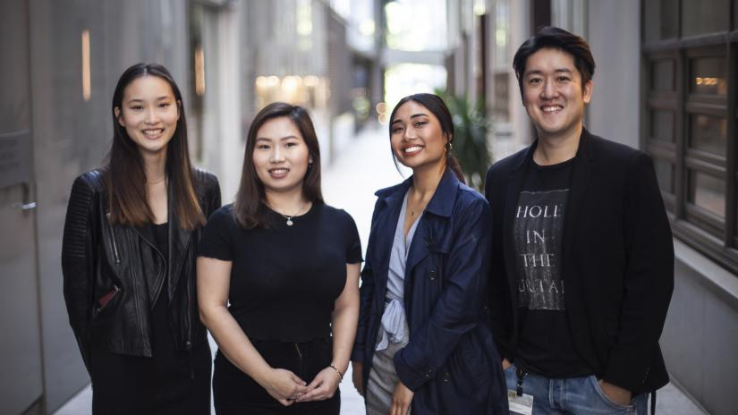 Image of Joshua Chou and his team of four female engineers