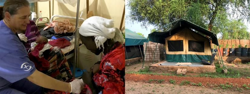 Two images side-by-side, the first image shows Annette working in the maternity ward in Maban hospital and the second image shows the tent Annette stays in when working in Maban.