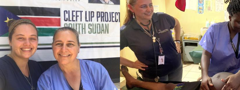 Two images side-by-side, the first image shows Annette and her daughter standing in front of a banner that says 'The Cleft Lip Project, South Sudan' and the second image shows Annette instructing a local midwife in the art of midwifery care in Maban hospital