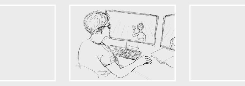 Self-portrait of Carol Amadio working at her computer