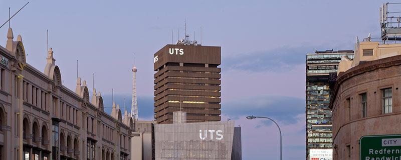 UTS Tower from Broadway at dusk