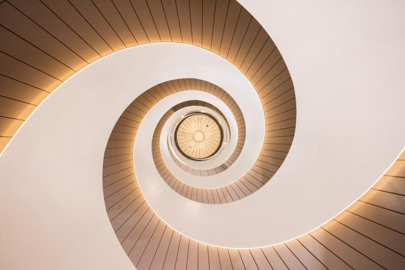 Looking up the centre of the double helix staircase in UTS Central