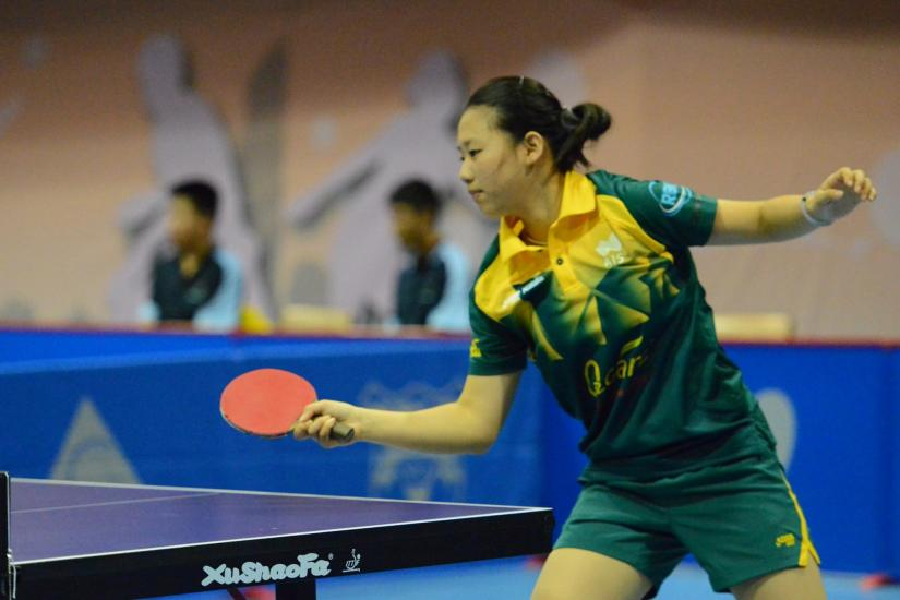 Antonia Zhang playing table tennis