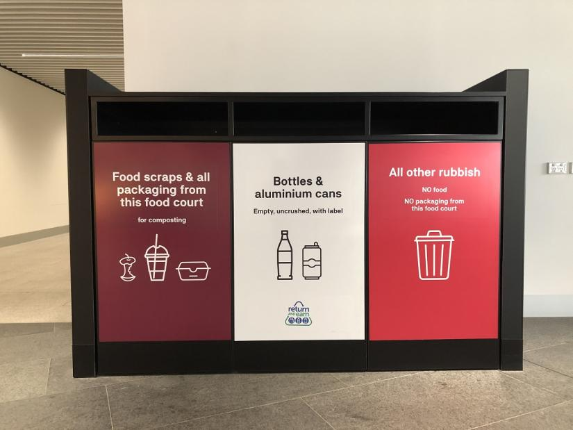 Photo of the 3 bins in the food court