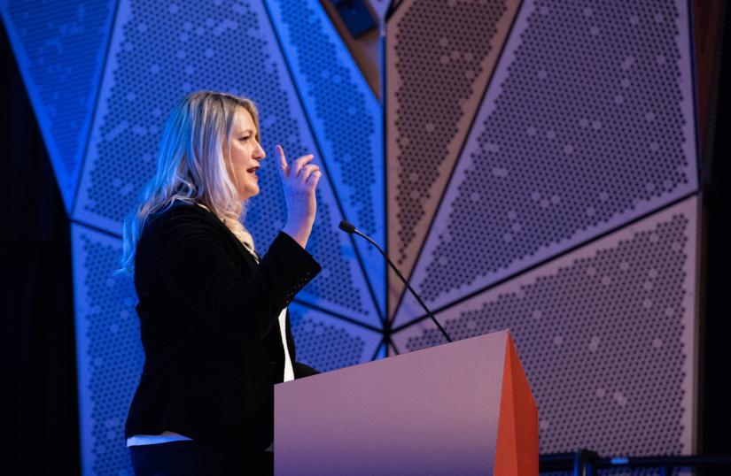 UTS DAB alumna Louise Vlatko speaking at the graduation ceremony