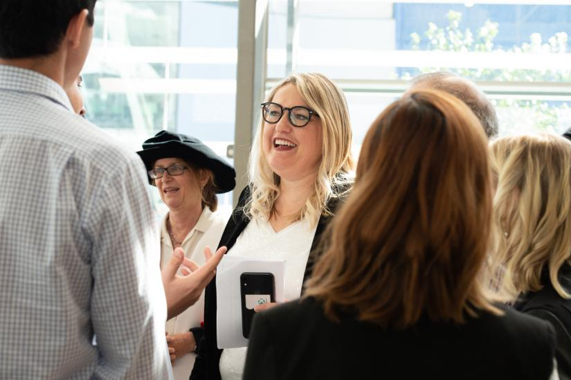 UTS Built Environment alumna Louise Vlatko mingling with attendees of the graduation ceremony
